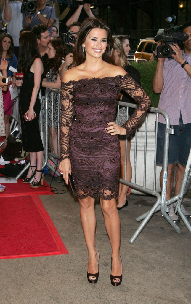 Penelope Cruz wore a lacy Emilio Pucci dress.