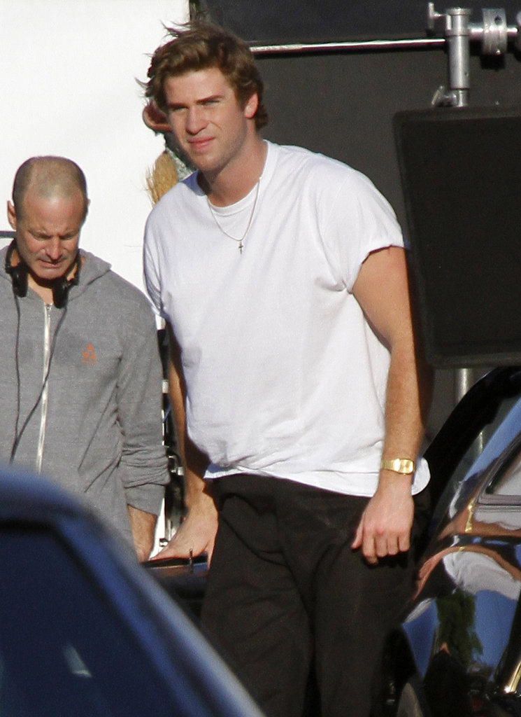 Liam Hemsworth looked handsome as ever in a white t-shirt in New Orleans.