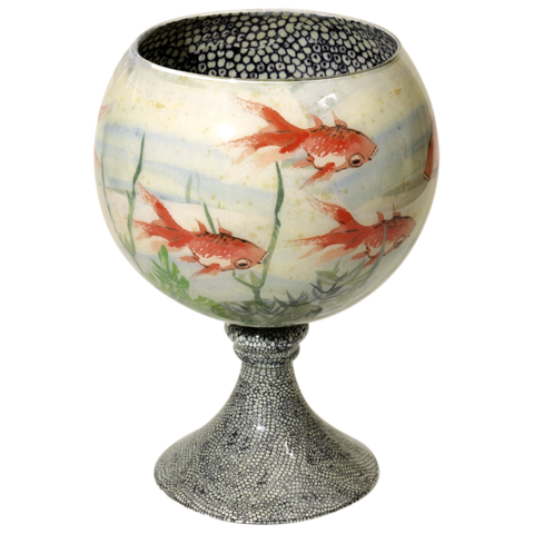 Instead of flowers, try filling this Fishbowl ($2,200) with something that won't cover the pretty little polka dots, like potpourri.