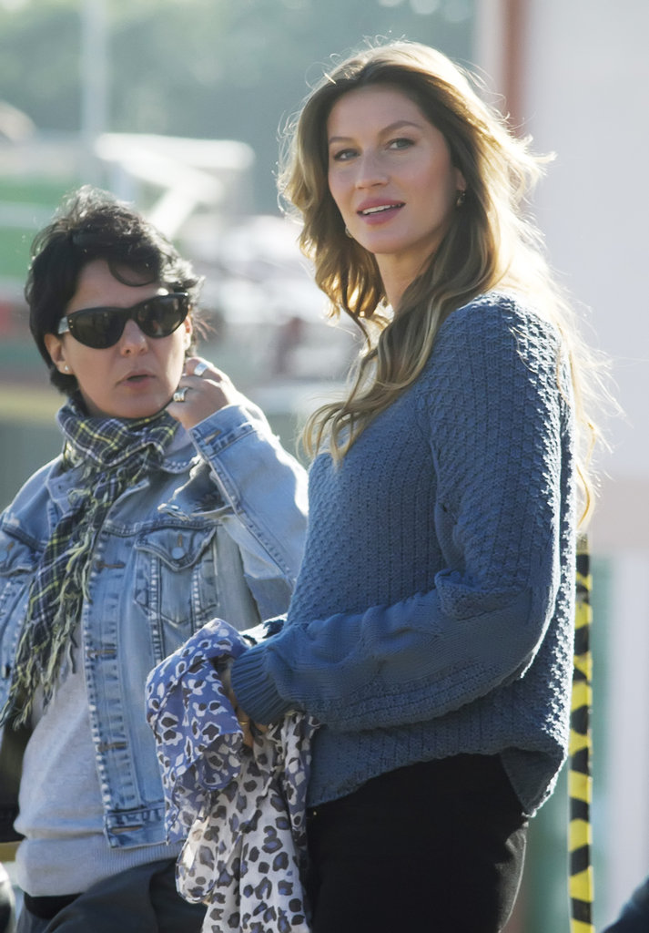 Gisele Bundchen modeled a scarf in Brazil.