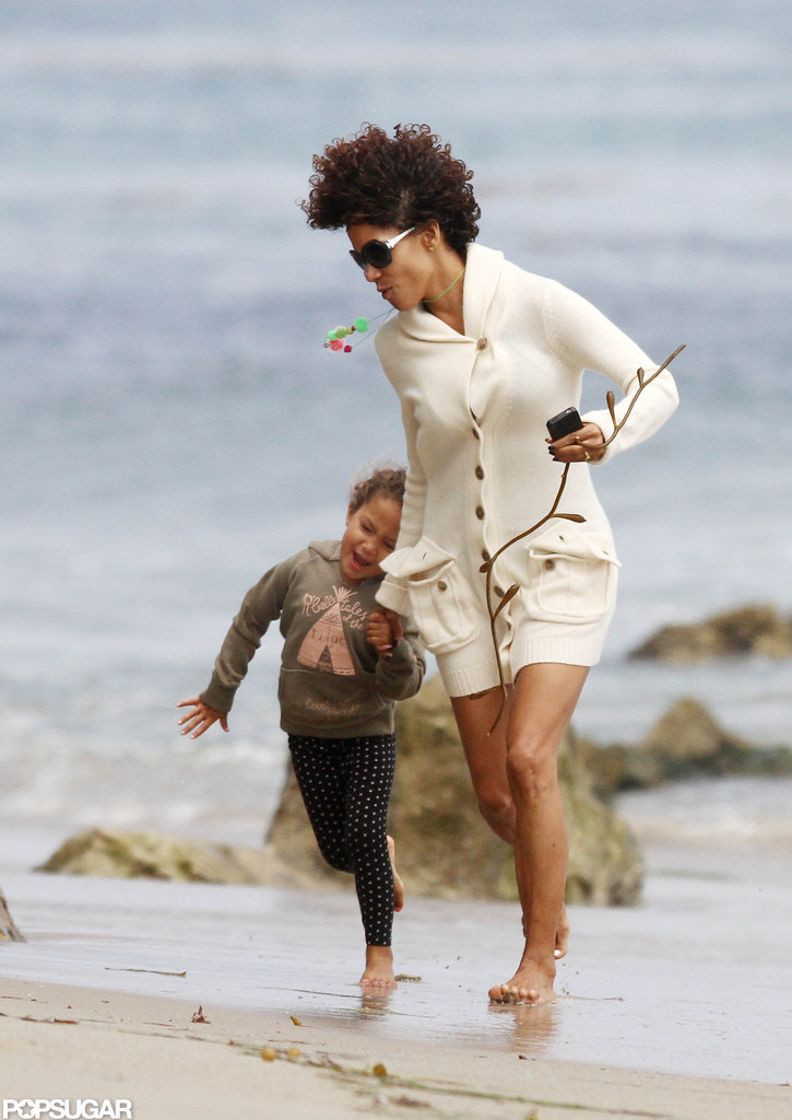 Halle Berry and Nahla Aubry hit the beach.