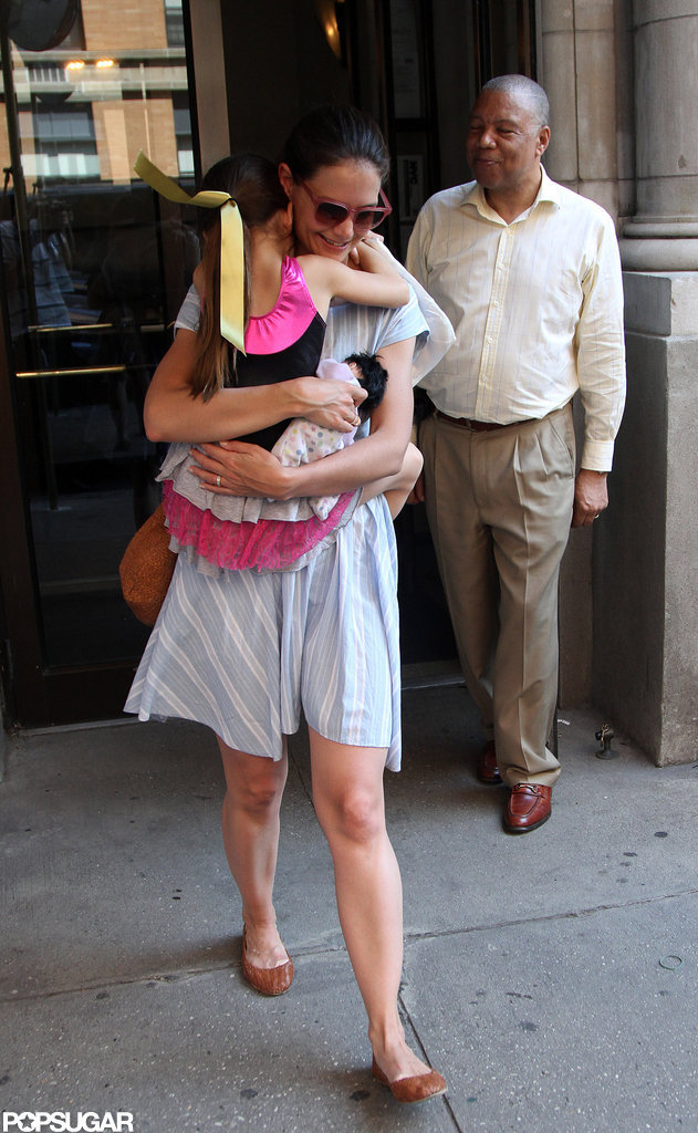 Katie Holmes carried Suri Cruise after leaving Chelsea Piers in NYC.