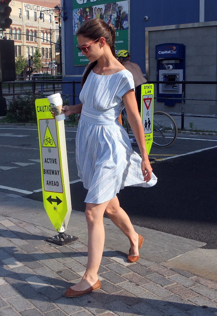 Katie Holmes wore a light blue dress for a day out in NYC.