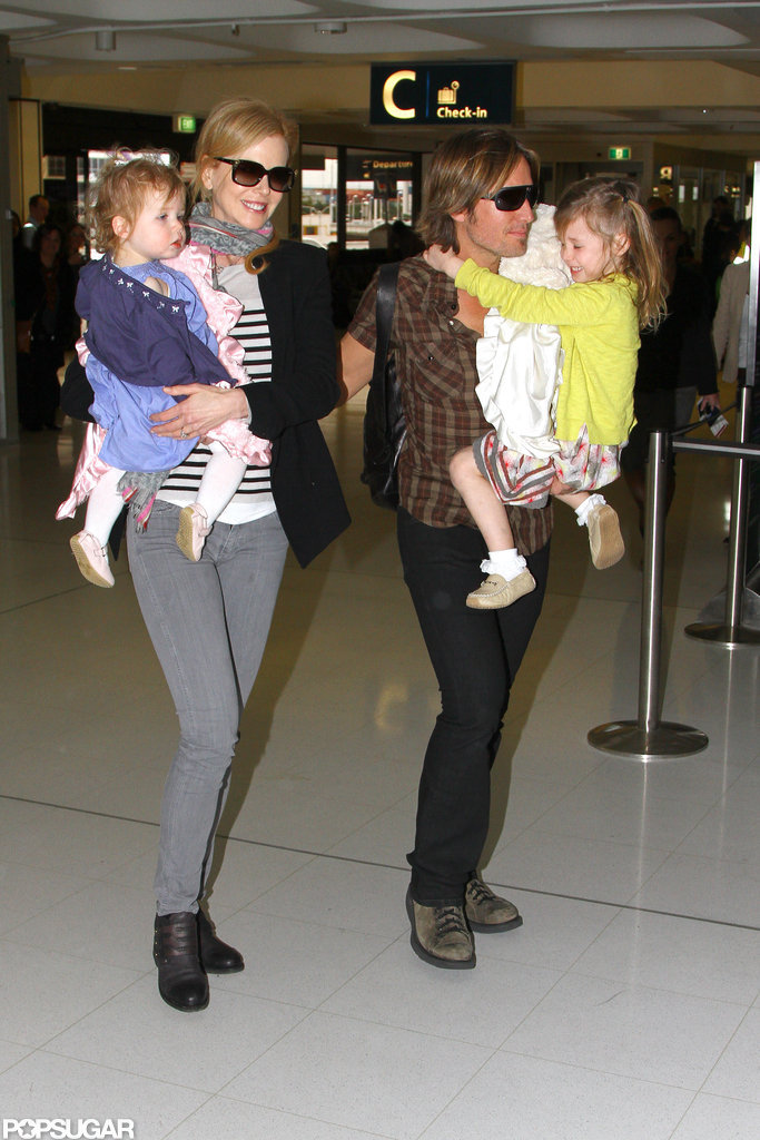Nicole Kidman, Faith Urban, Keith Urban, and Sunday Urban at the Sydney airport.