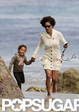 Halle Berry and Nahla Aubry played at the beach together.