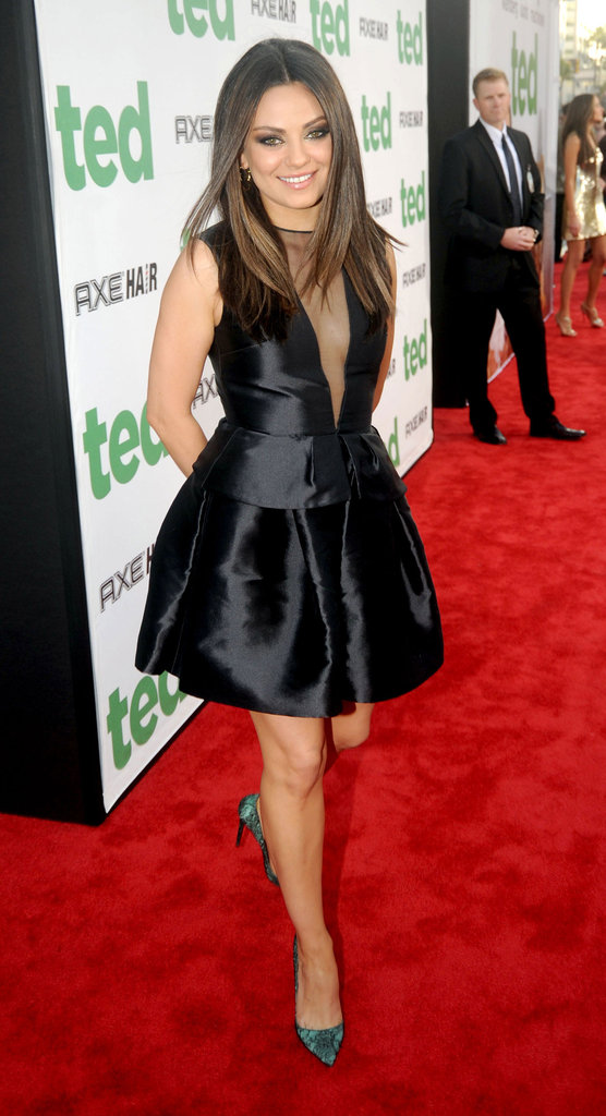 Mila Kunis arrived at the Ted premiere in a peplum-trimmed black Dior mini.