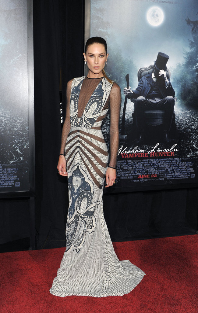 Erin Wasson made a jaw-dropping appearance for her film debut in an Etro gown.