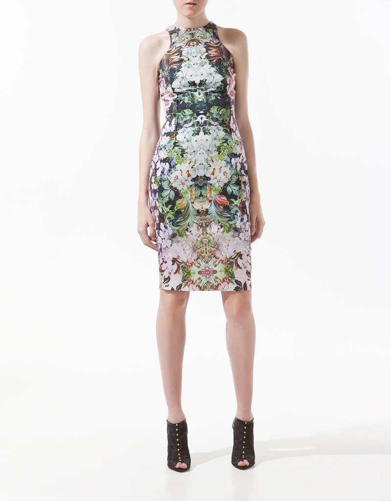 This Zara dress has a subdued yet sophisticated color palette and a sleek, sexy silhouette. Zara Floral Print Dress ($90)