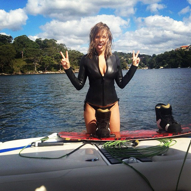 Lara went wakeboarding, one of her favourite pastimes, in a tight wetsuit. Source: Instagram user mslarabingle