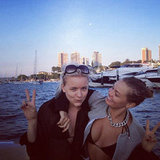 Lara and BFF Hermione Underwood flashed peace signs for a cute photo. Source: Instagram user mslarabingle