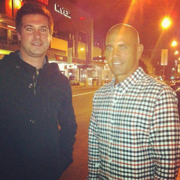 We had to share this... our account guru Eric got snappy with the (perma-bronzed Kelly) Slater at the Snow White and the Hunstman premiere in Bondi.