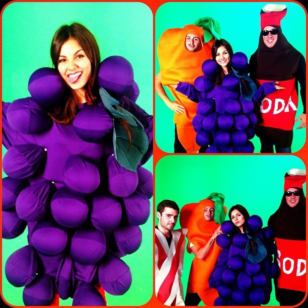 Victoria Justice got silly in a grape costume. Source: Instagram user victoriajustice