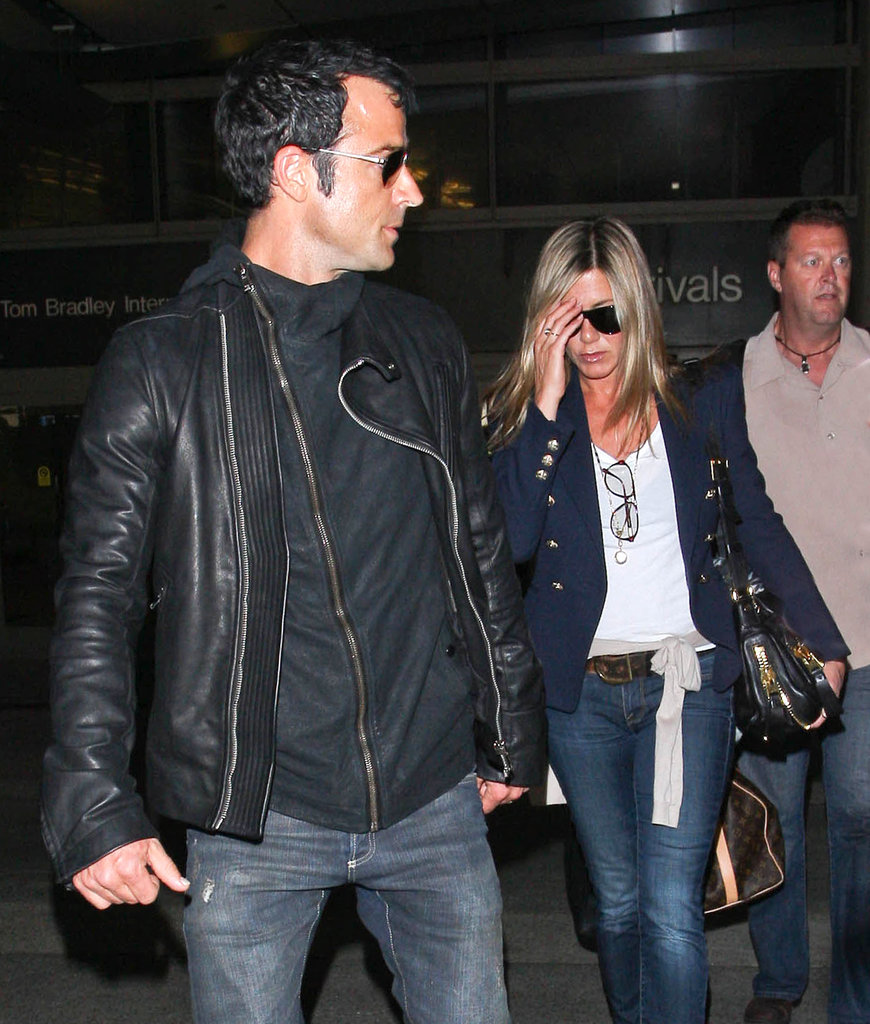Jennifer Aniston and Justin Theroux arrived home.