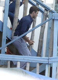 Justin Timberlake took the stairs on the set of his latest film.