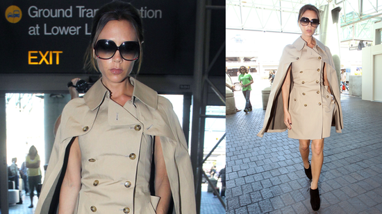 Victoria Beckham Goes Posh in a Cape Coat at the Airport