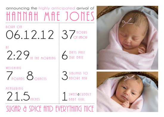 Baby Girl Birth Announcement Photo Card ($18)
