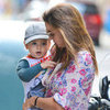 Miranda Kerr Clashing Floral Outfit Pictures With Flynn Bloom in NYC
