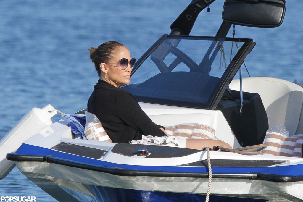 Jennifer Lopez lounged on a boat.
