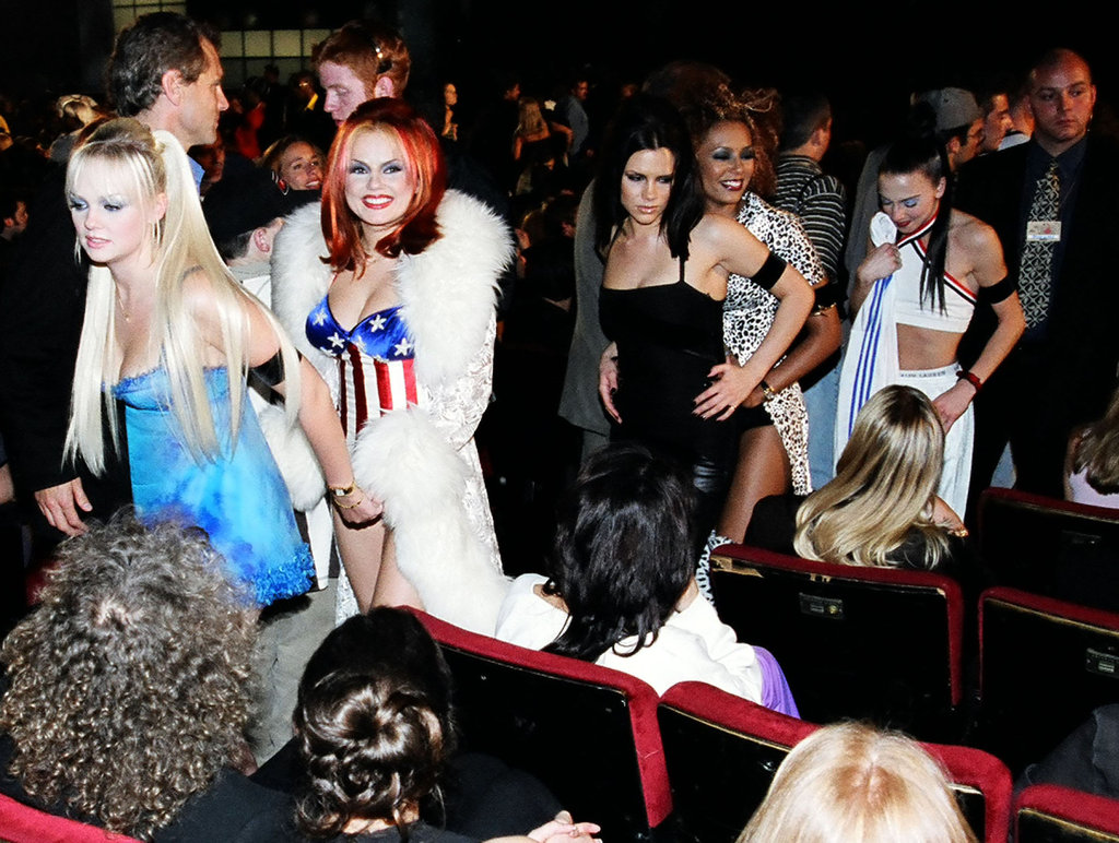 Emma Bunton, Geri Halliwell, Victoria Beckham, Mel B and Mel C made their way to their seats at the September 1997 MTV Europe Musica Awards in LA.