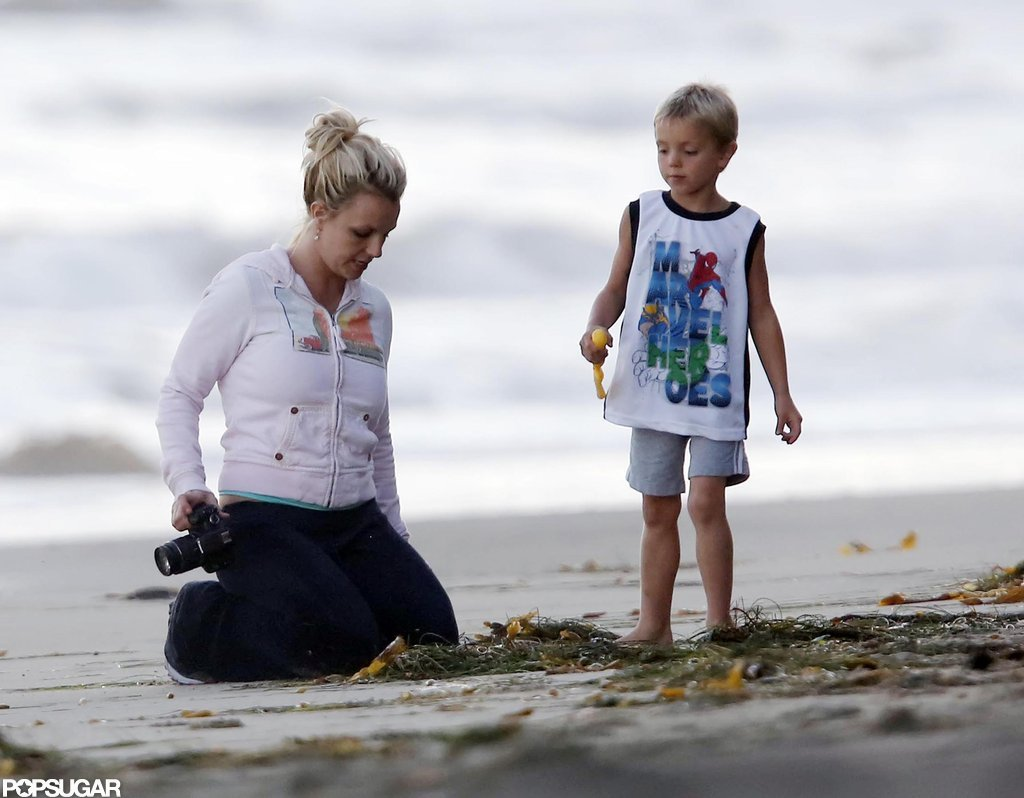 Britney Spears hung out in the sand.