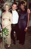 Kristen McMenamy with husband Miles Aldridge and Naomi Campbell in October 1997. McMenamy wore custom Karl Lagerfeld.