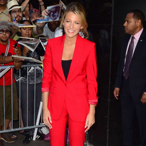 Blake Lively Wearing Red Suit