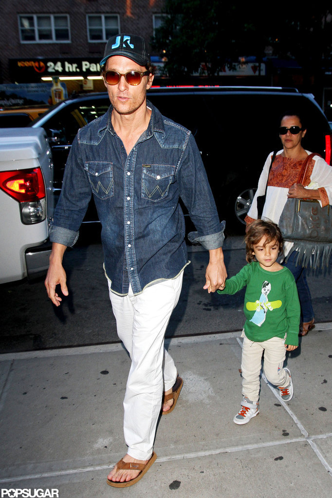 Matthew McConaughey sported a hat and shades as he and the family arrived in NYC.
