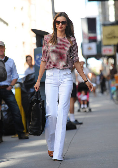 Miranda Kerr wore white pants around NYC.