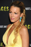 Blake Lively accented her yellow gown with a gorgeous braid and turquoise statement jewels.