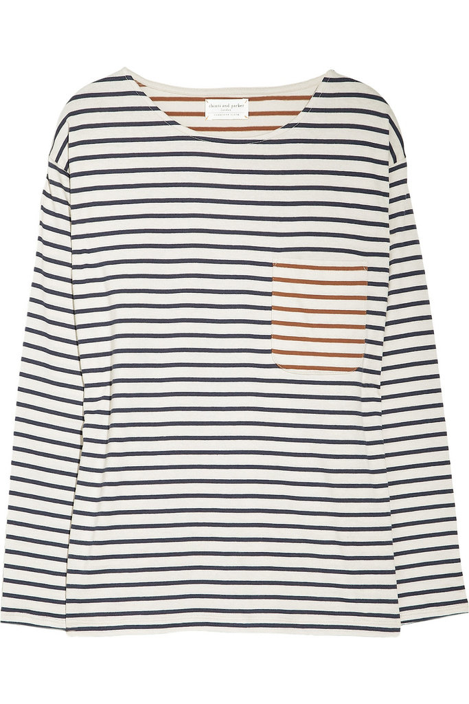 Instead of your classic striped boatneck t-shirt, this version offers up an unexpected contrasted color twist. Style it over a silky slipdress or tuck into a pair of ankle-length skinny jeans. Chinti and Parker Contrast-Stripe Organic Cotton Top ($130)