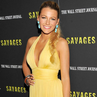 Blake Lively Wearing Yellow Gucci Dress at Savages Premiere