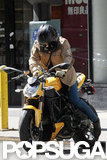 Orlando Bloom rode his motorcycle around NYC.