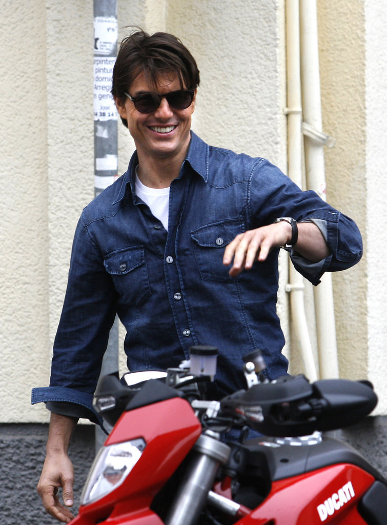 In December 2009, Tom Cruise hopped onto a motorcycle while shooting Knight and Day.