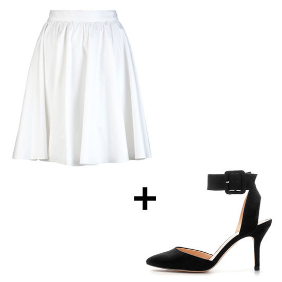 Punch up a crisp circle-skirt ensemble with a sexy ankle-strap sandal. This black and white rendition injects a strong feminine edge into an otherwise ladylike look.  Get the Look: 10 Crosby by Derek Lam Solid Circle Skirt ($240) Zara Basic Sling Back ($50)