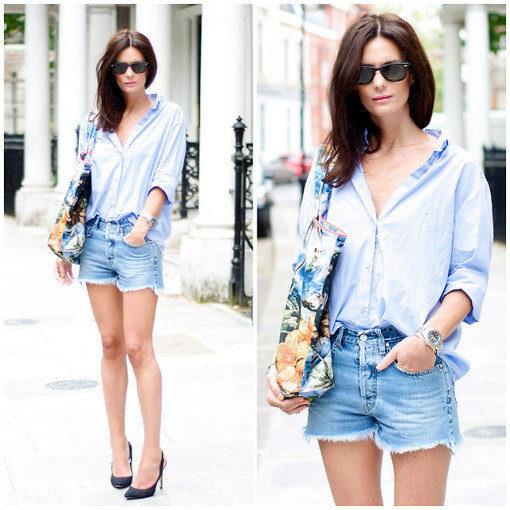 We love how simple denim cutoffs and a crisp button-down get a punchy kick via a tropical-print bag. Photo courtesy of Lookbook.nu