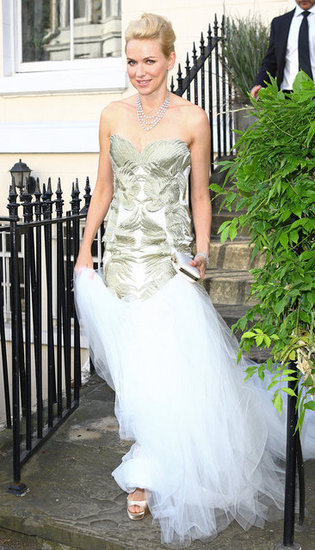 Naomi Watts dressed up to attend Elton John's White Tie & Tiara Ball in London.