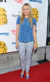 Kristen Bell sported printed pants and a blue top at the screening of Hit and Run in LA.