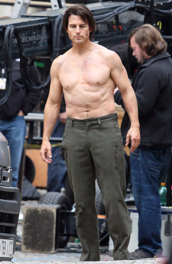 Tom Cruise was shirtless for the filming of Mission: Impossible — Ghost Protocol in October 2010.