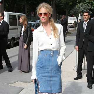 Poppy Delevingne Wearing a Denim Skirt