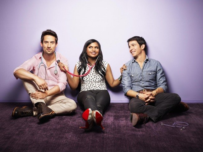 Ed Weeks, Mindy Kaling, and Chris Messina on The Mindy Project. Photo courtesy of Fox