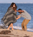 Selena Gomez had fun with a friend on the beach in Malibu.