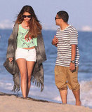 Selena Gomez talked to a friend on the beach in Malibu.