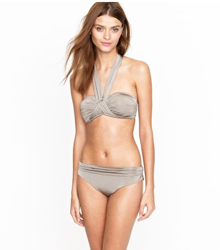 Yes, you can get away with a halter strap at the middle of the bust, as long as the straps are wide like this and offer the support you need while swimming and playing on the beach.  J.Crew Jersey Lomellina Crisscross Halter Top ($58) and Ruched Bikini Bottom ($56)