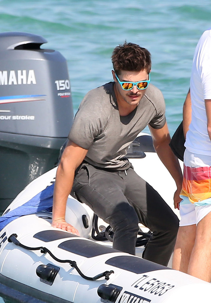 Zac Efron took a seat on board a boat.