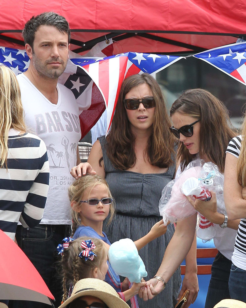 Ben Affleck and Jennifer Garner celebrated the Fourth of July in LA with their kids Seraphina and Violet at a parade.