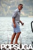 George Clooney was all smiles at his Lake Como vacation home in July.