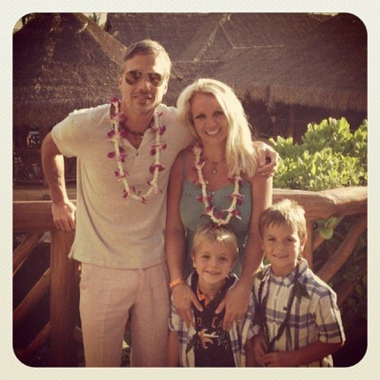 Britney Spears posed with Jason Trawick and her boys on vacation. Source: Instagram user britneyspears