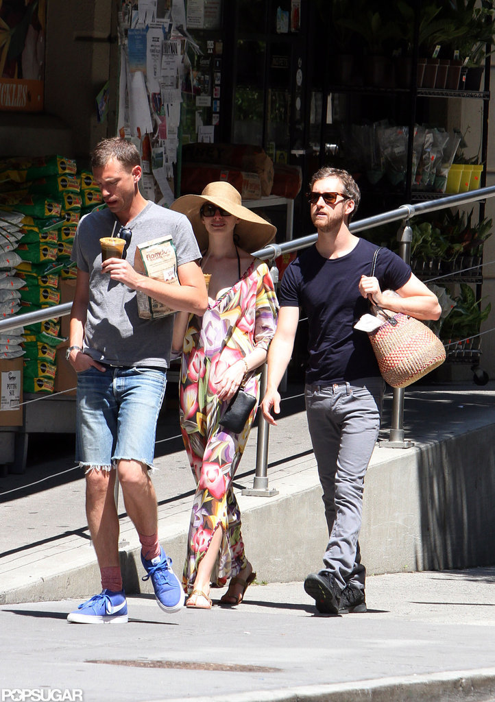 Anne Hathaway sported a huge hat and sunglasses on the Fourth of July.