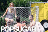 Blake Lively got into the dunk tank with Ryan Reynolds watching on the Fourth of July.