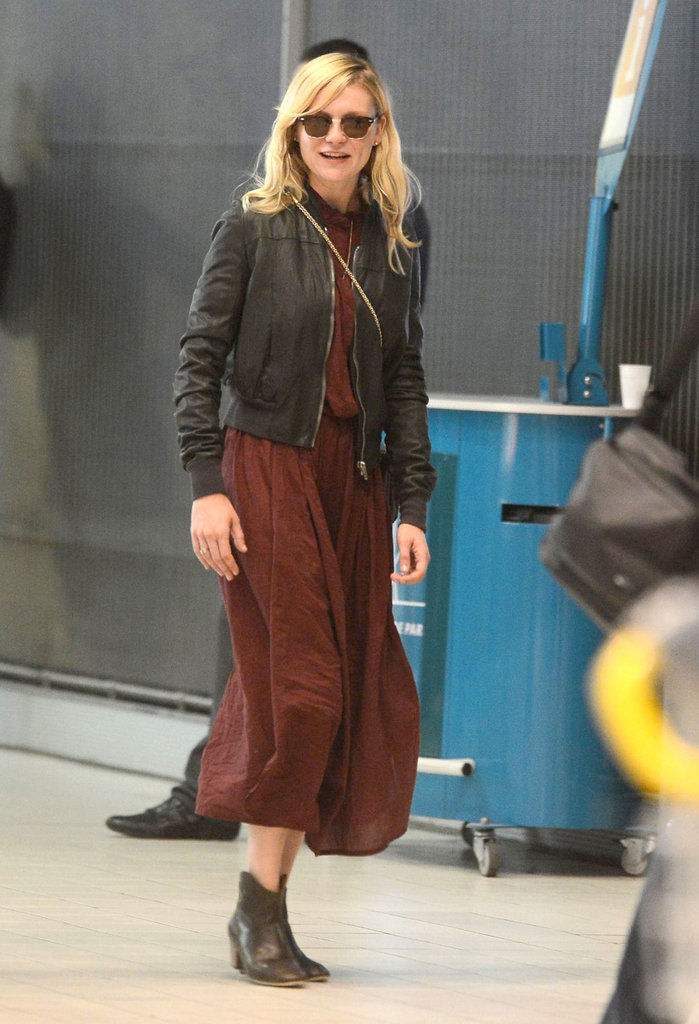 Kirsten Dunst made a low-key outfit look instantly cooler with a pair of ankle boots and a leather jacket.